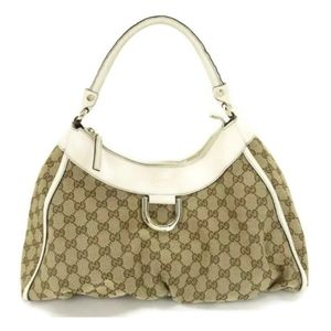 💯 AUTH GUCCI ABBEY GG CANVAS LEATHER HAND BAG